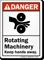 Rotating Machinery Keep Hands Away ANSI Danger Sign