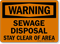 Warning Sewage Disposal Stay Clear Of Area Sign