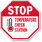 Stop Temperature Check Station Social Distancing Sign