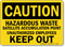 Caution Hazardous Waste Satellite Accumulation Sign