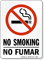 Bilingual No Smoking / No Fumar Sign