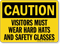 Caution Visitors Must Wear Hard Hats Sign