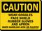 Danger Goggles Gloves Handling Chemicals Sign